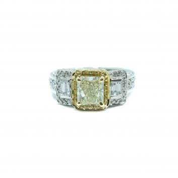 Lady's White Platinum 3 Stone Engagement Ring With 2.93Tw Emerald Si1 Yellow & White Diamonds