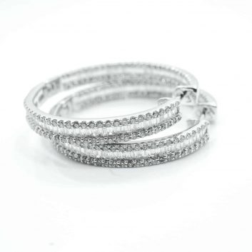 Lady's White 14 Karat Medium Hoop Earrings With 5.00Tw Baguette G Si1 Diamonds