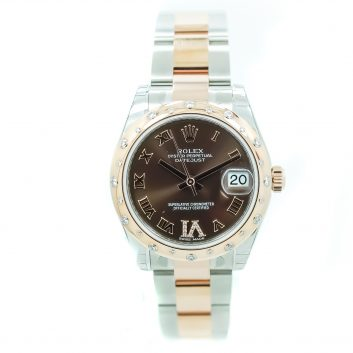 Two Tone Stainless & 18K Ladies Rolex Watch, Chocolate Roman Numerals V1