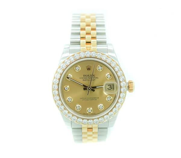 Ladies Stainless Steel Two Tone Datejust, Diamond Dial & Bezel Aftermarket VS1, Jubilee Bracelet