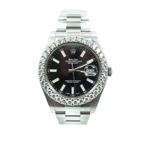 Rolex 41mm Stainless Steel Datejust with 4.5 tdw bezel Black Dial