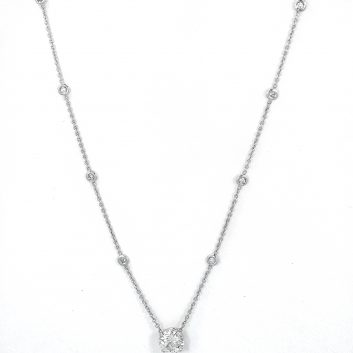 Lady's White 14 Karat Diamonds By The Yard Necklace With One 1.38Ct Round H Si1 Diamond
