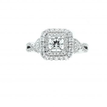 Lady's White 14 Karat Semi Mount 1cttw G/H VS2 Engagement Ring Size 6.75 With Center Radiant H Vs1 Diamonds .51tw = 1.51tdw