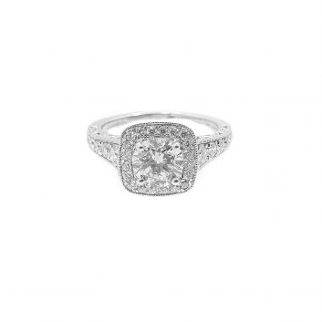 Lady's White 14 Karat Halo Engagement Ring Size 5.75 With 0.50Tw Round G/H Vs1 Diamonds