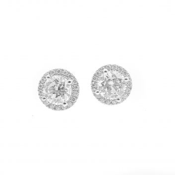 Lady's White 14 Karat Huggie Earrings With Round Diamonds
