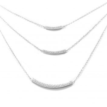 Lady's White 14 Karat 3 Tier Necklace With 0.40Tw Round Diamonds