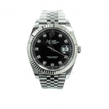 Rolex 41mm Stainless Steel Datejust, Black Diamond Dial