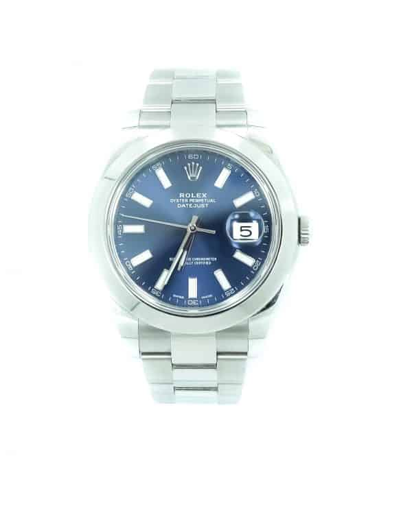 Rolex 41mm Stainless Steel Datejust with Polished Bezel Blue Dial