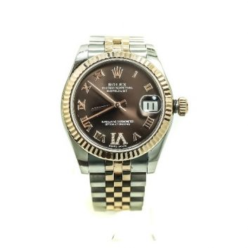 Rolex 31mm Two Tone Stainless Steel and 18k Rose Gold Datejust with Chocolate Diamond Roman Numeral Dial
