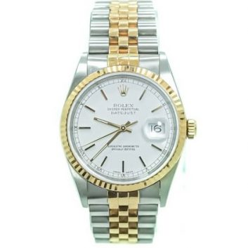 Rolex 36mm Datejust Stainless Steel Two Tone Jubilee, White Dial